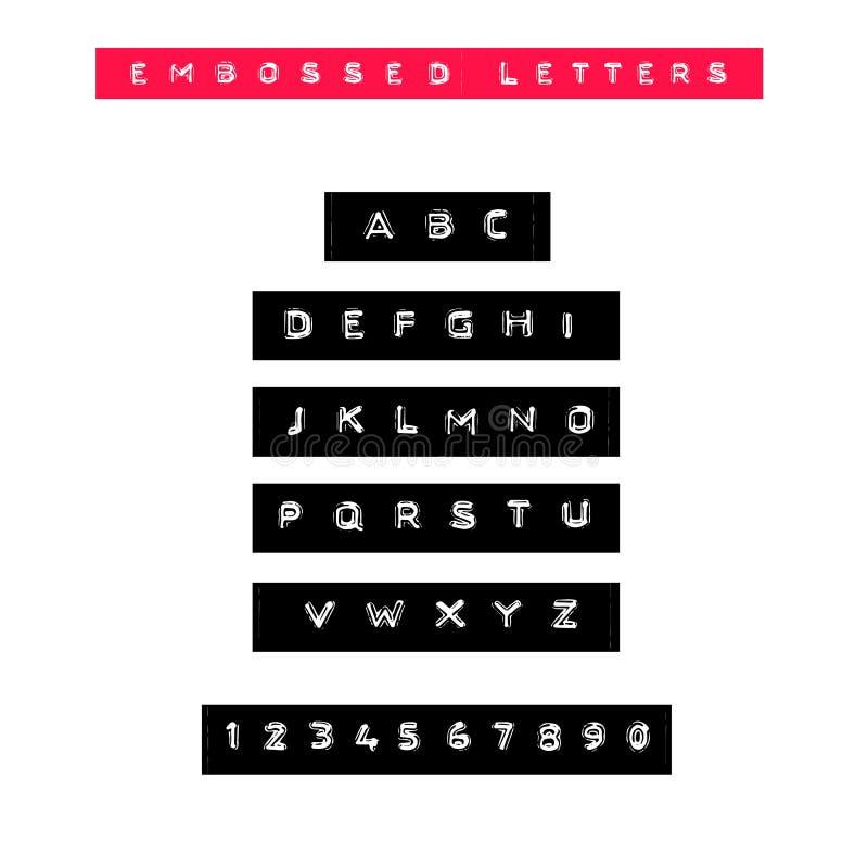 Fonte gravada da fita das letras Tipo da etiqueta adesiva do vintage Alfabeto do vetor ilustração royalty free