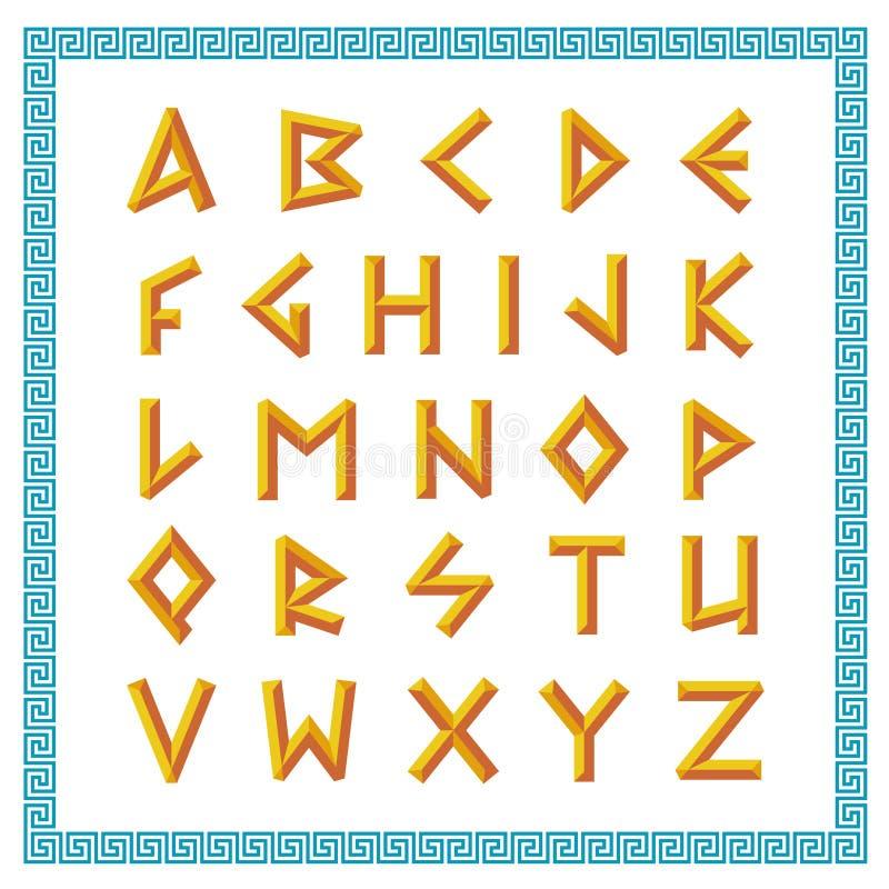 Fonte grega Letras chanfradas douradas do estilo da vara ilustração royalty free