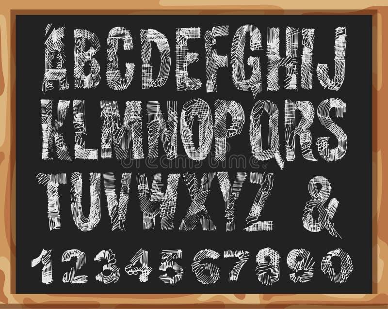 Fonte Handdrawn Alfabeto e números com linhas e cursos do Grunge Projeto do garrancho do vetor Isolado no fundo da mesa da escola ilustração stock