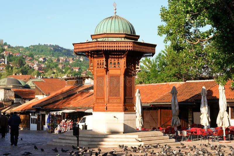 Fonte histórica em Sarajevo, Bósnia - Herzegovina imagem de stock