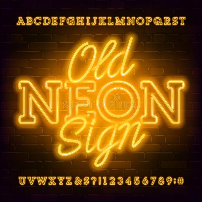 Fonte idosa do alfabeto do sinal de n?on Letras retros e n?meros da ampola ilustração stock