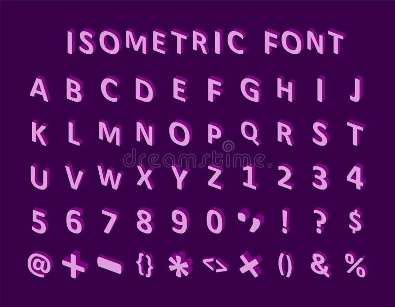 Fonte isométrica colorida corajosa do pixel 3d grupo geométrico caixa brilhante moderno das letras do alfabeto Vetor conservado e ilustração stock