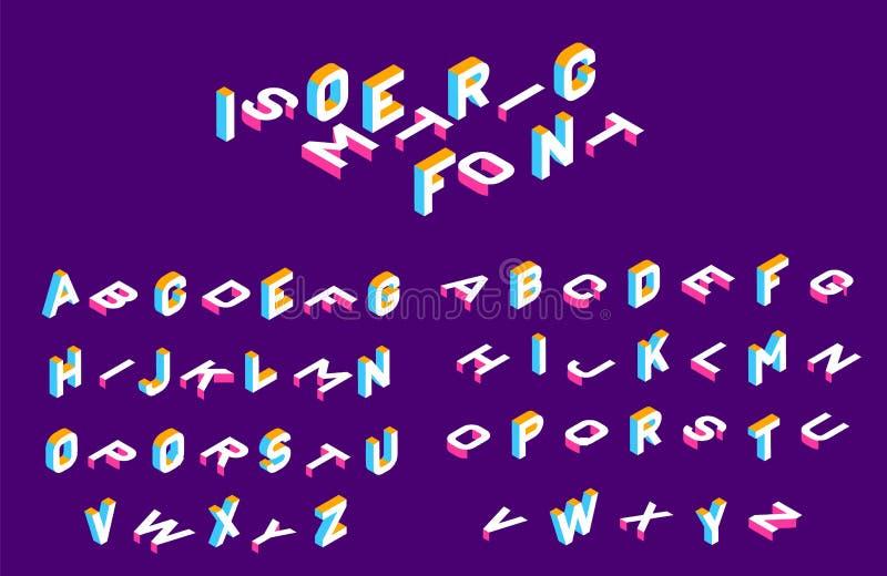 Fonte isométrica 3d letras isométricas olored, alfabeto tridimensional Baixos caráteres 3d polis Ilustração do vetor ilustração stock