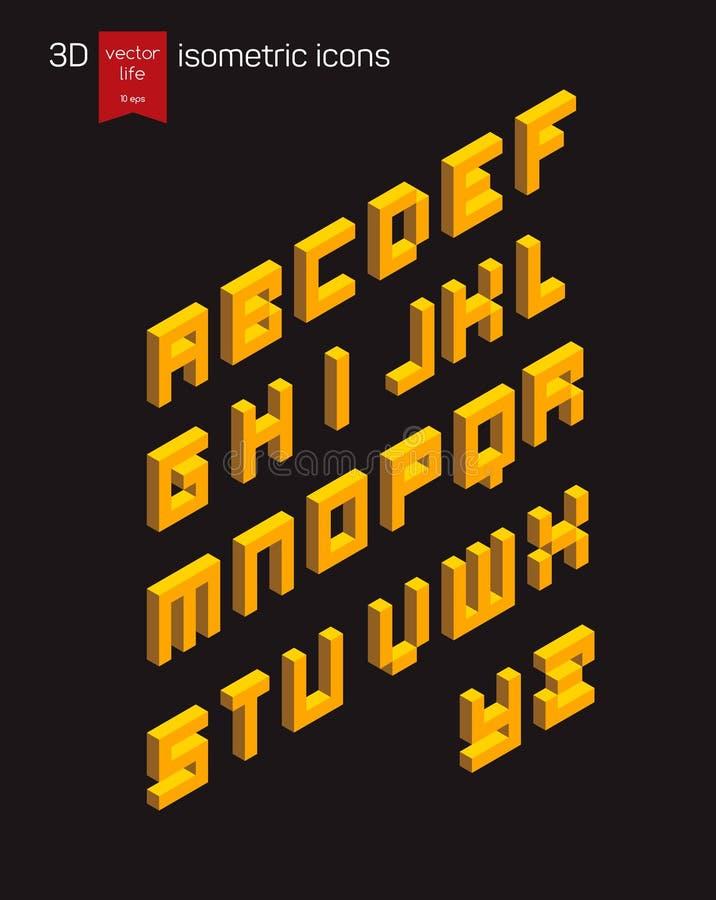 Fonte isométrica do alfabeto fotos de stock royalty free