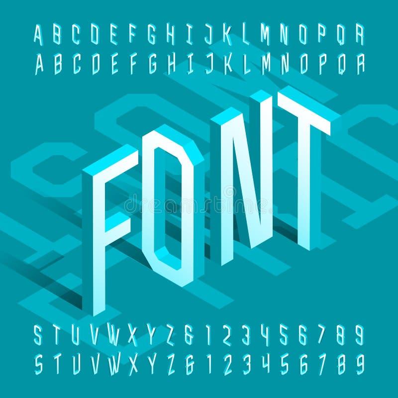 fonte isométrica do alfabeto 3D letras e números finos do efeito 3d ilustração stock