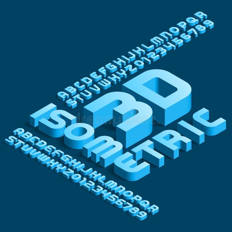 fonte isométrica do alfabeto 3D letras e números modernos do efeito 3d com sombra ilustração stock