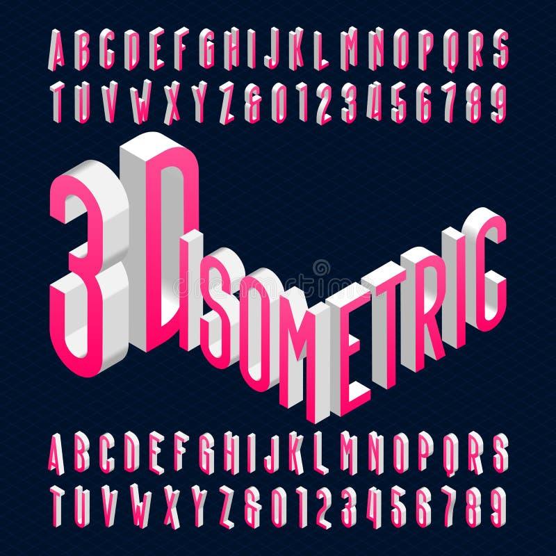 fonte isométrica do alfabeto 3D o efeito 3d condensou letras, números e símbolos ilustração stock