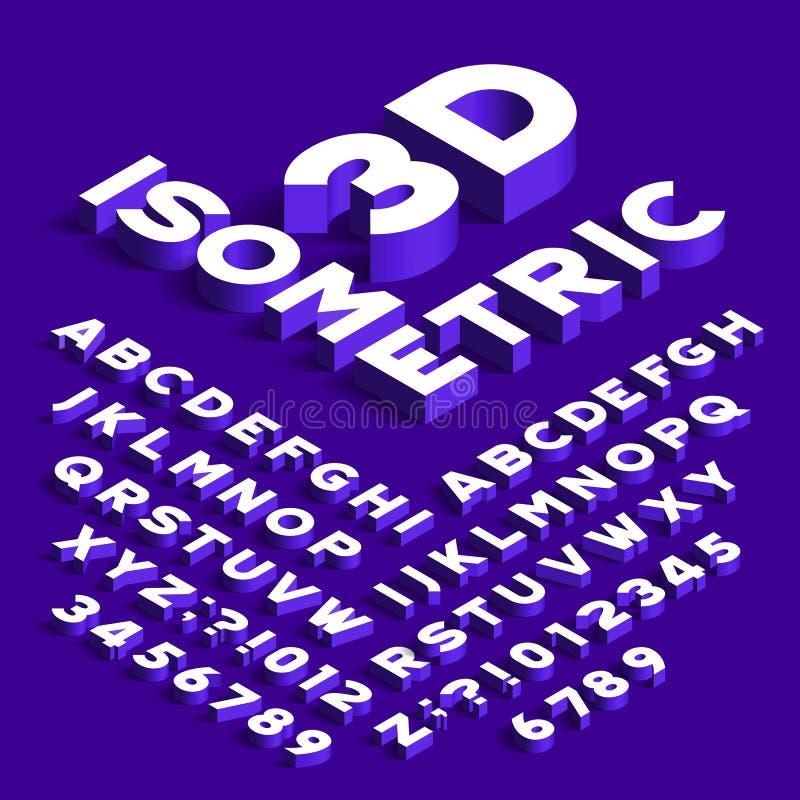 Fonte isométrica do alfabeto letras, números e símbolos do efeito 3d com sombras ilustração royalty free