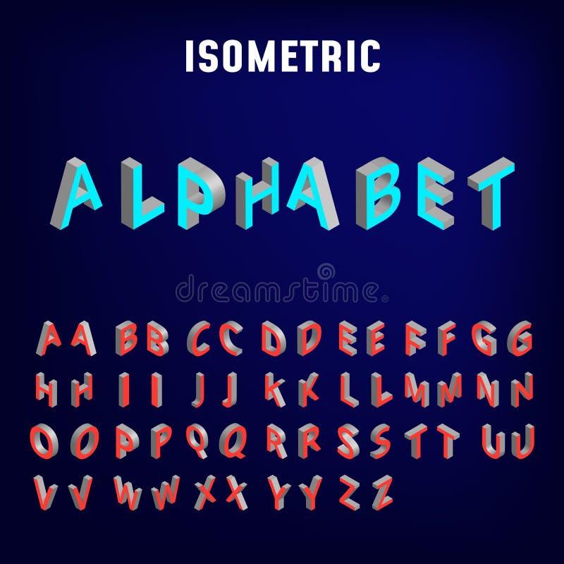 Fonte isom?trica do alfabeto ilustração do vetor