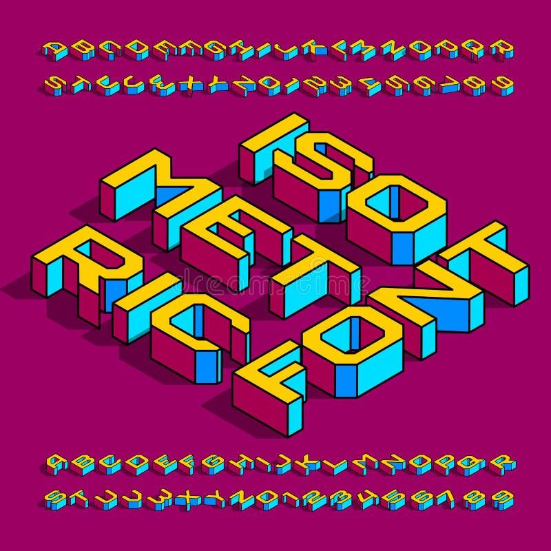 Fonte isom?trica do alfabeto letras, números e símbolos geométricos simples do efeito 3d com sombra ilustração do vetor