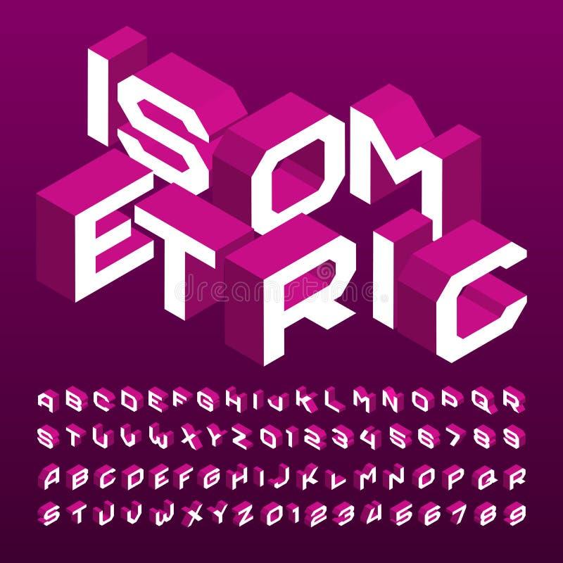 Fonte isom?trica do alfabeto letras, n?meros e s?mbolos geom?tricos do efeito 3d ilustração do vetor