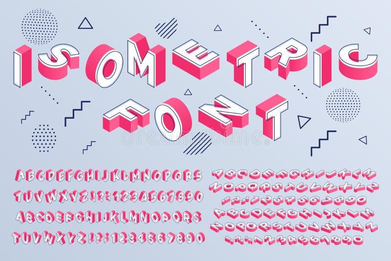 Fonte isom?trica O alfabeto geométrico 3d rotula blocos e o grupo cúbicos do vetor do sinal de números da perspectiva ilustração royalty free