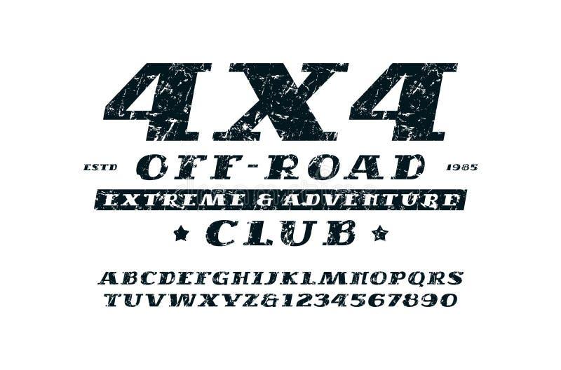 Fonte itálica do serif e emblema fora de estrada do clube ilustração royalty free