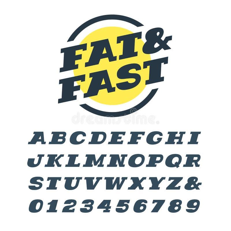 Fonte itálica larga do serif da laje Alfabeto do vetor com letras latin ilustração do vetor