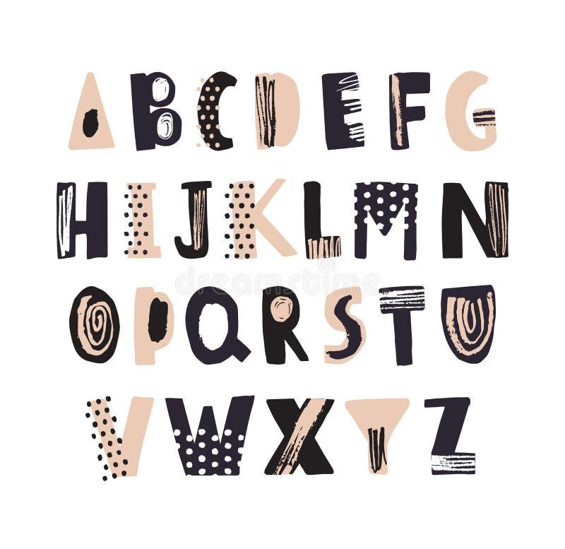 Fonte latin funky ou mão decorativa do alfabeto inglês tirada no fundo branco Letras textured criativas arranjadas dentro ilustração stock