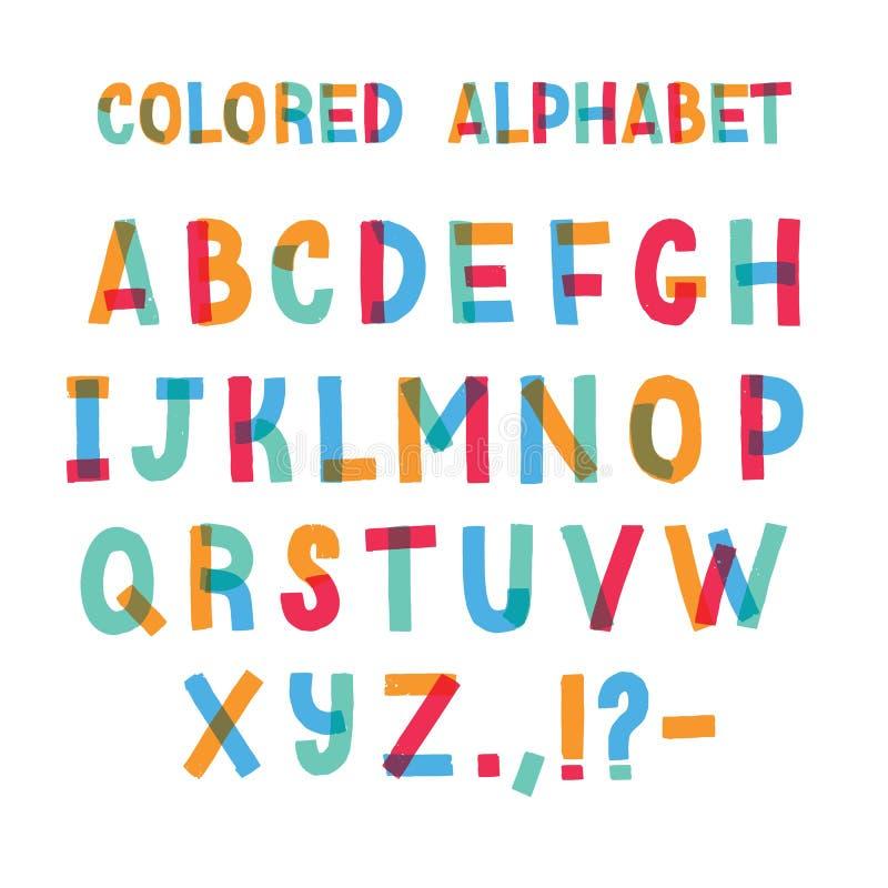 Fonte latino ou alfabeto inglês decorativo feita da fita adesiva colorida Grupo de letras estilizados coloridas brilhantes ilustração do vetor
