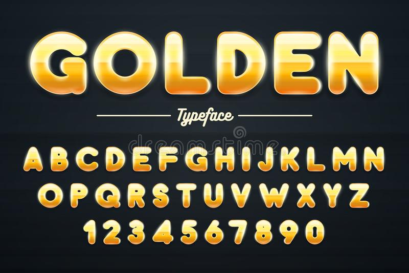 Fonte, letras do ouro e ilustração de brilho douradas dos números ilustração royalty free