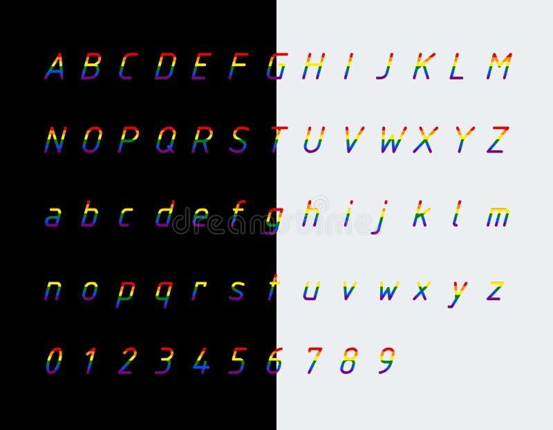 Fonte, letras e números das cores da bandeira do arco-íris ilustração stock