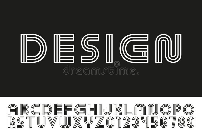 Fonte linear do desenhista moderno Alfabeto ingl?s na moda Letras de latino e numerais listrados - estilo minimalistic digital ilustração stock