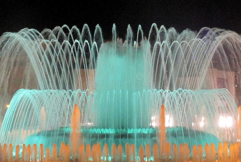 Fonte mágica de Montjuic em Barcelona fotografia de stock