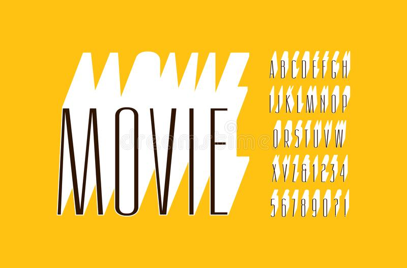 Fonte maioria extra estreita decorativa de Sans Serif ilustração stock