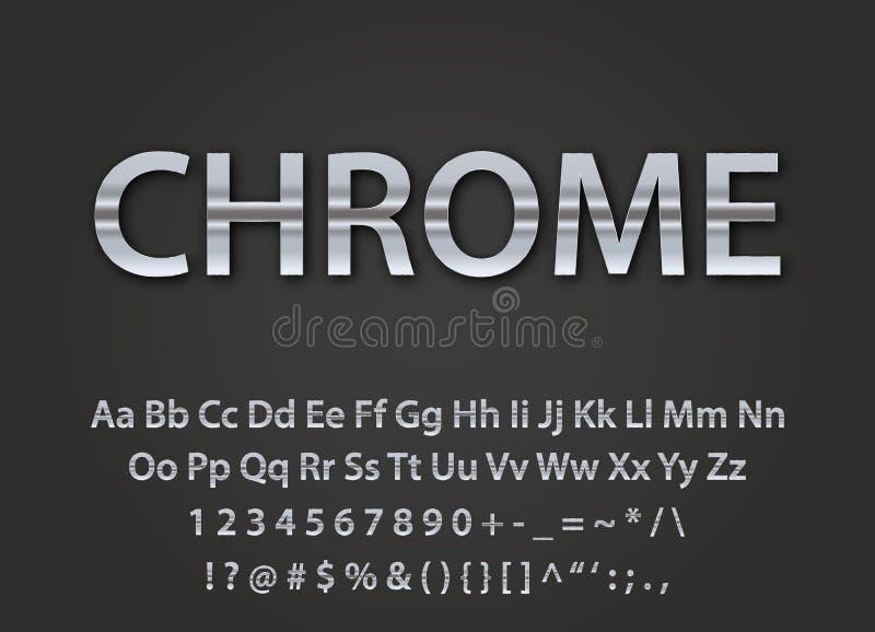 Fonte metallica di Chrome illustrazione di stock