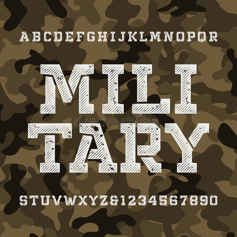 Fonte militar do alfabeto do estêncil Tipo afligido letras e números ilustração royalty free