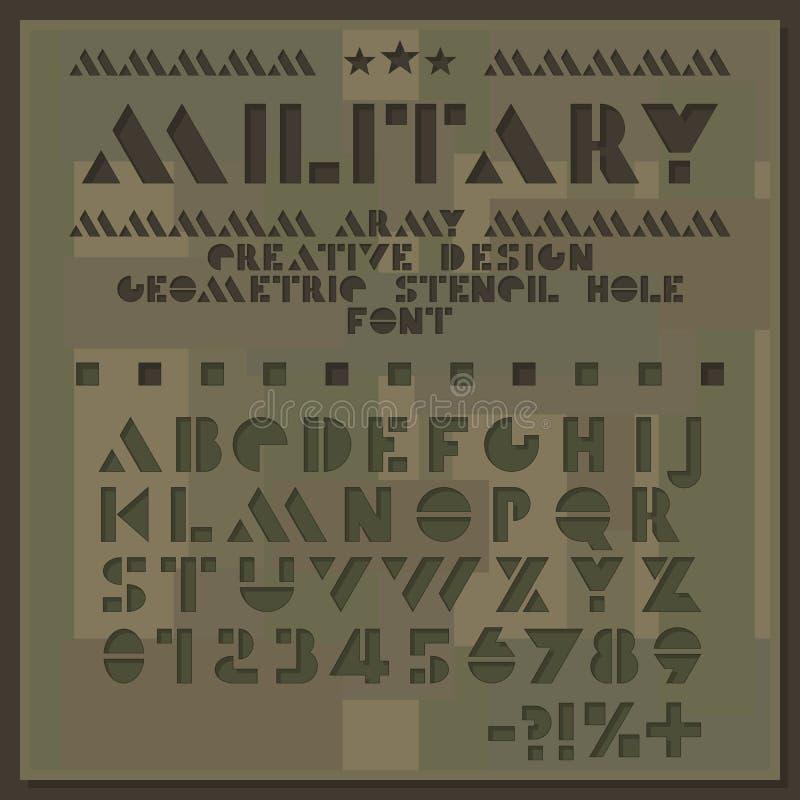Fonte militar do estêncil Alfabeto geométrico do corte áspero Letras do furo e números Sans Serif Projeto creativo ilustração do vetor