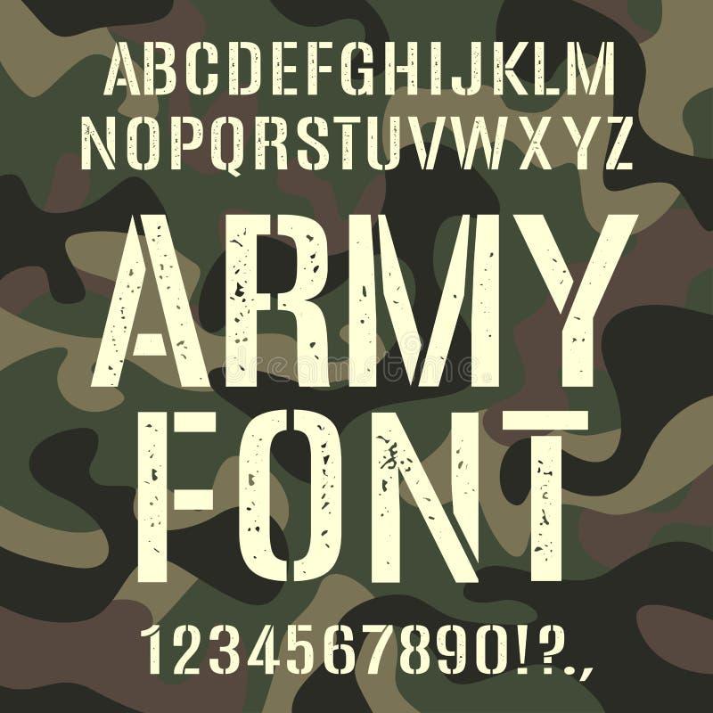Fonte militar e do exército, teste padrão áspero da camuflagem ilustração stock