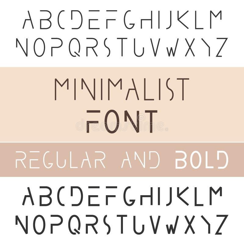 Fonte minimalista corajosa e regular Estilo Sans Serif do minimalismo ilustração do vetor