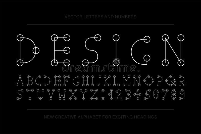Fonte minimalistic do desenhista do vetor Alfabeto criativo ingl?s na moda Letras e numerais finos simples de latino ilustração stock