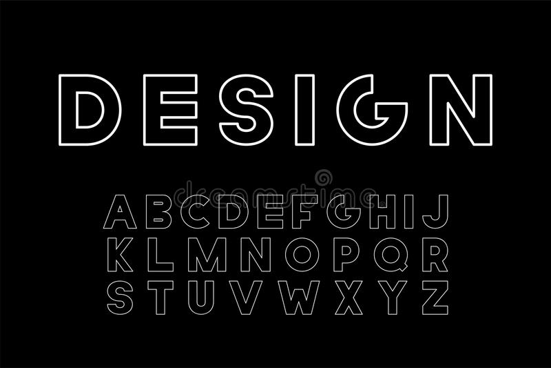 Fonte minimalistic do desenhista do vetor Alfabeto inglês na moda Letras latin corajosas ilustração stock