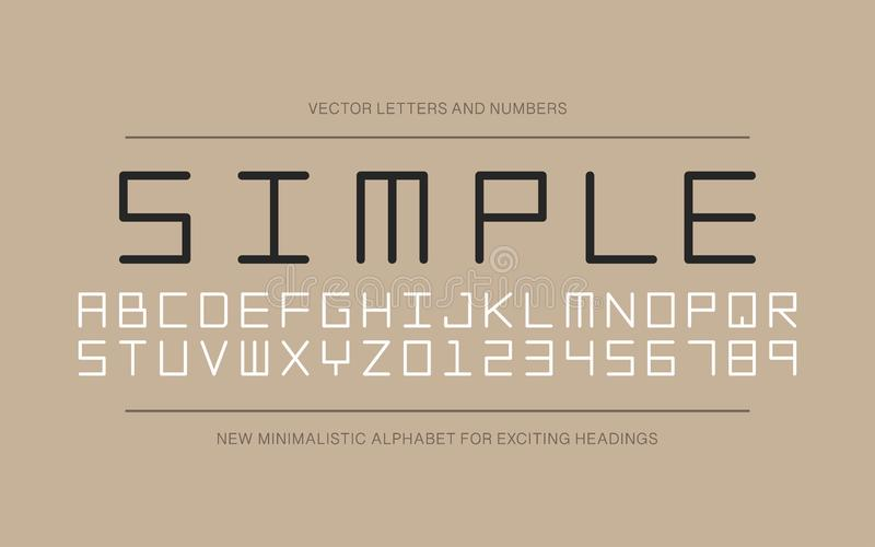 Fonte minimalistic do desenhista do vetor Alfabeto ingl?s na moda Letras e numerais simples de latino ilustração royalty free