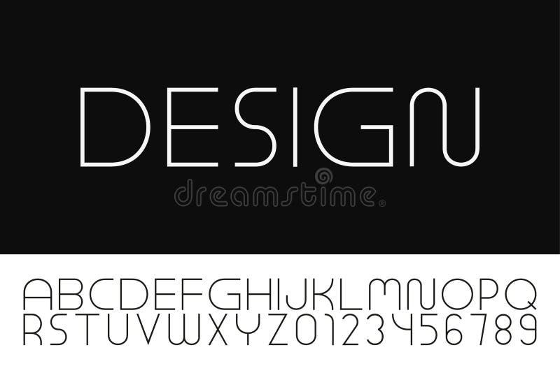 Fonte minimalistic do desenhista do vetor Alfabeto ingl?s na moda Letras e numerais simples finos de latino ilustração stock