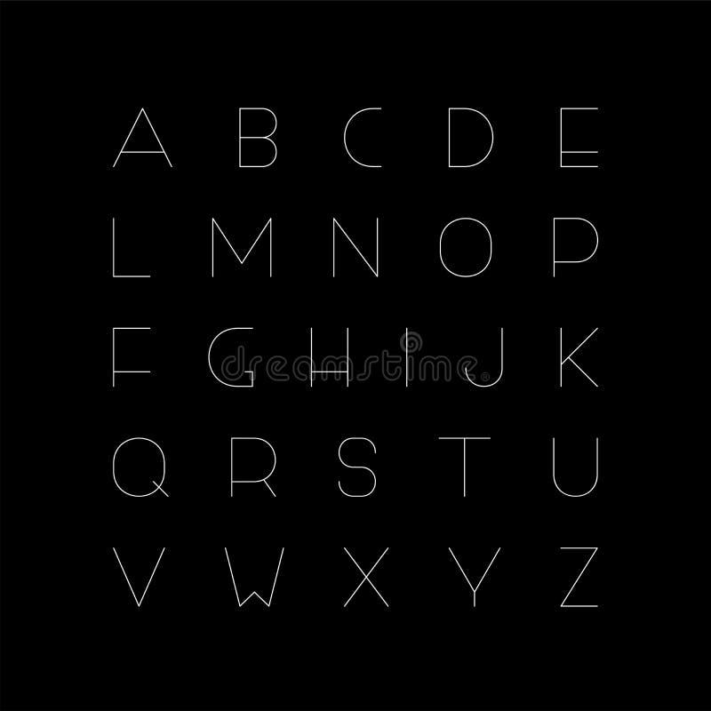Fonte minimalistic do vetor - alfabeto inglês criativo, letras de latino finas ilustração do vetor