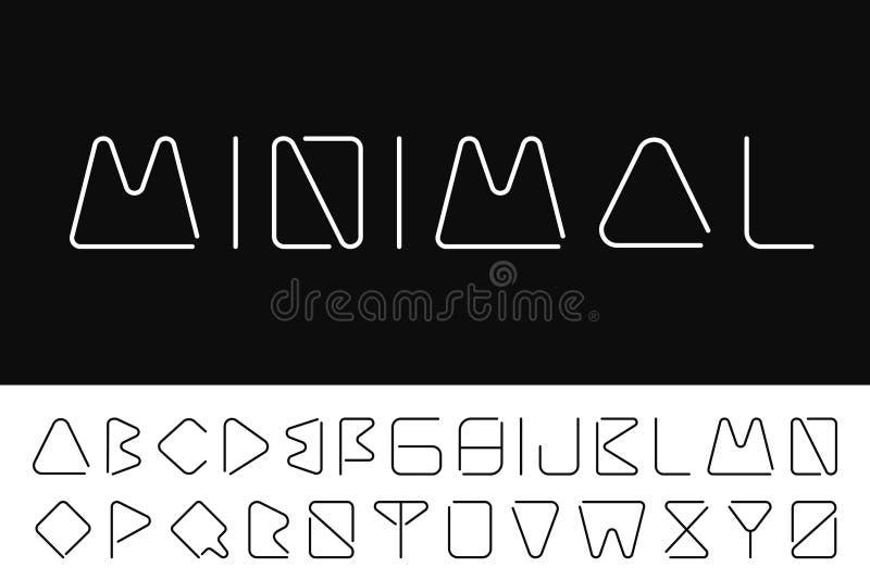 Fonte minimalistic fina alfabeto inglês creativo ilustração do vetor