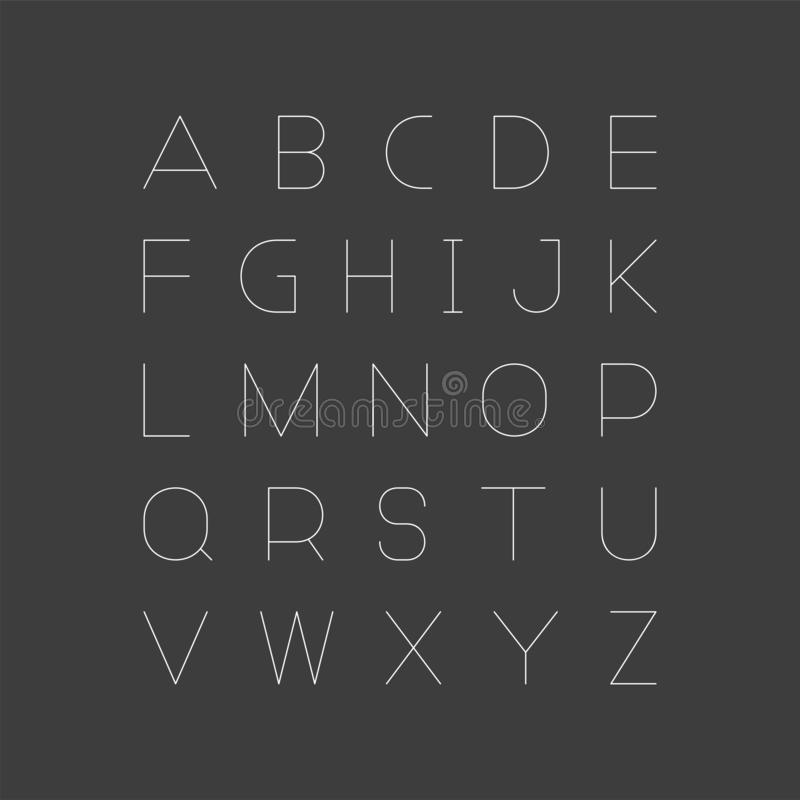 Fonte minimalistic simples Alfabeto inglês do vetor Letras de latino lineares finas ilustração stock