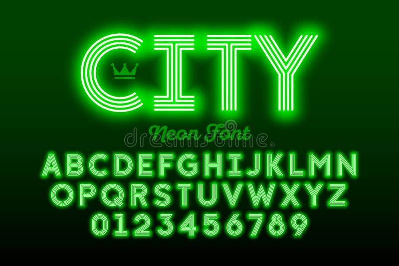 Fonte moderna, alfabeto e números do estilo de néon ilustração royalty free
