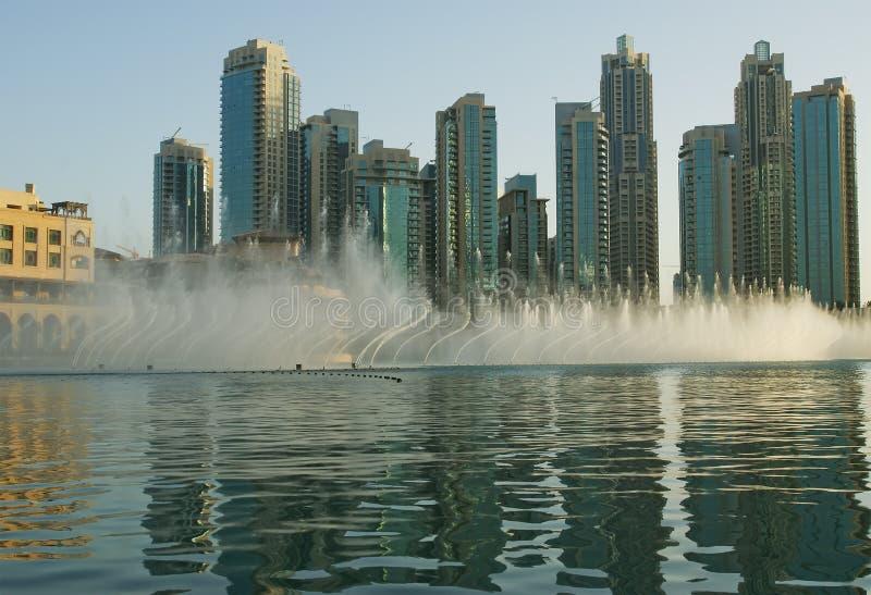 Fonte musical famosa de Dubai, Emiratos Árabes Unidos imagens de stock