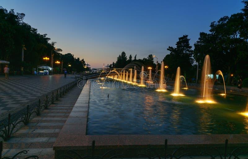 Fonte musical leve no parque de beira-mar na noite Batumi, Geórgia imagens de stock