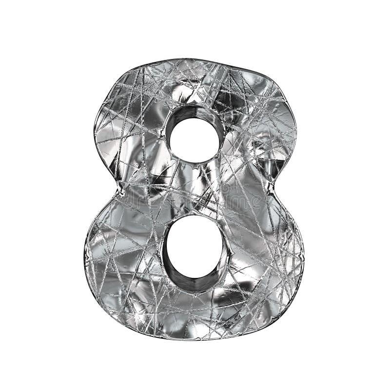 Fonte número 8 da folha de alumínio do Grunge OITO 3D ilustração stock