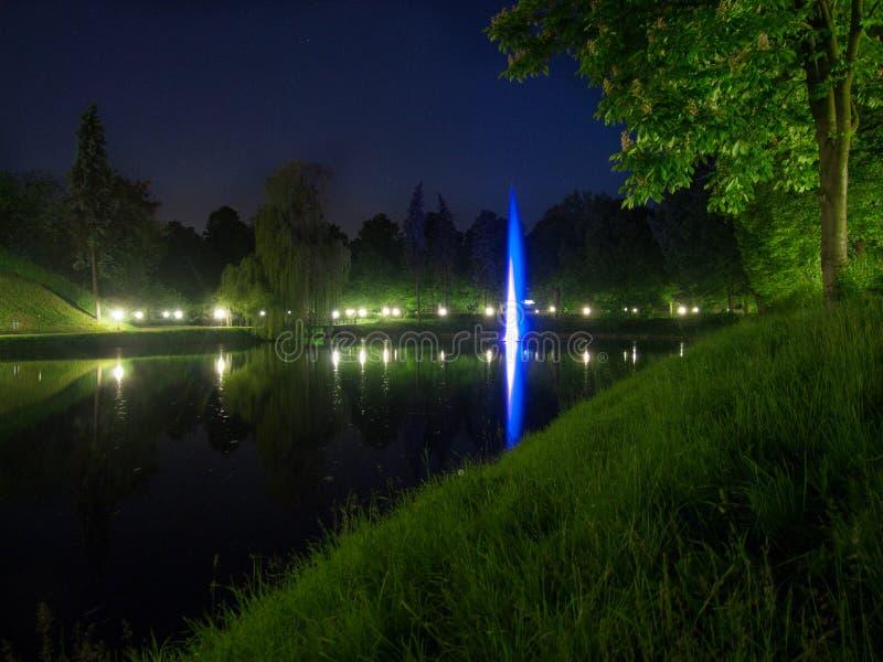 Fonte no parque na noite fotos de stock royalty free