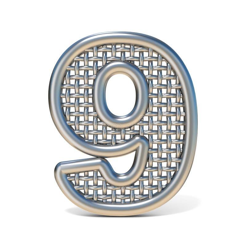 Fonte numero descritta 9 della maglia del nastro metallico NOVE 3D illustrazione di stock