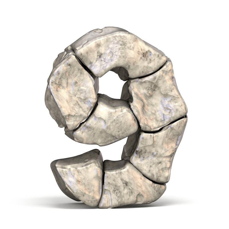Fonte numero di pietra 9 NOVE 3D illustrazione di stock