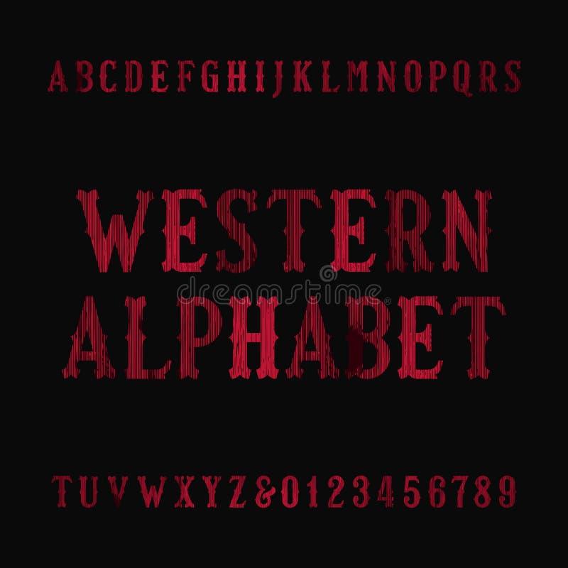 Fonte ocidental do alfabeto do vintage Letras e números afligidos do serif ilustração royalty free