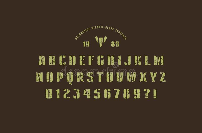 Fonte original de Sans Serif da estêncil-placa ilustração royalty free