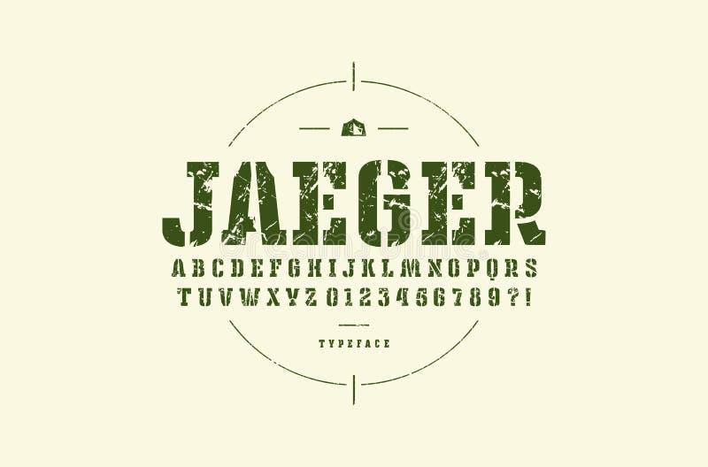 Fonte original do serif da laje da estêncil-placa ilustração royalty free
