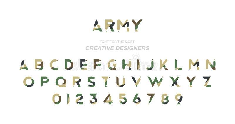 Fonte original na camuflagem para o molde criativo do projeto Ilustração lisa eps10 ilustração stock