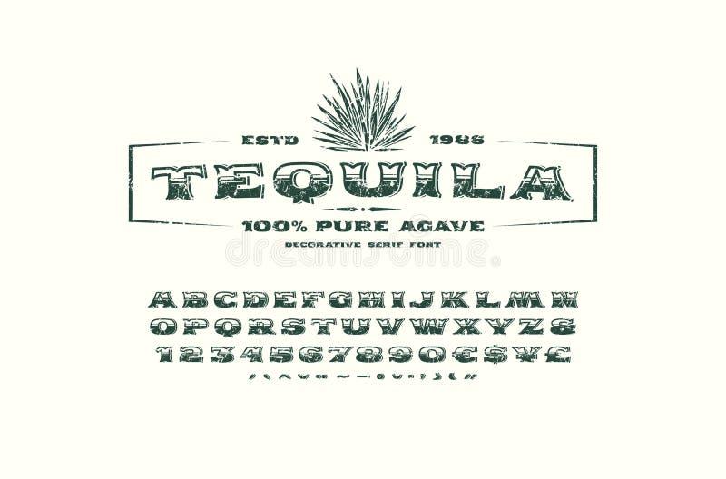Fonte ornamentado do serif e molde da etiqueta para o tequila ilustração royalty free