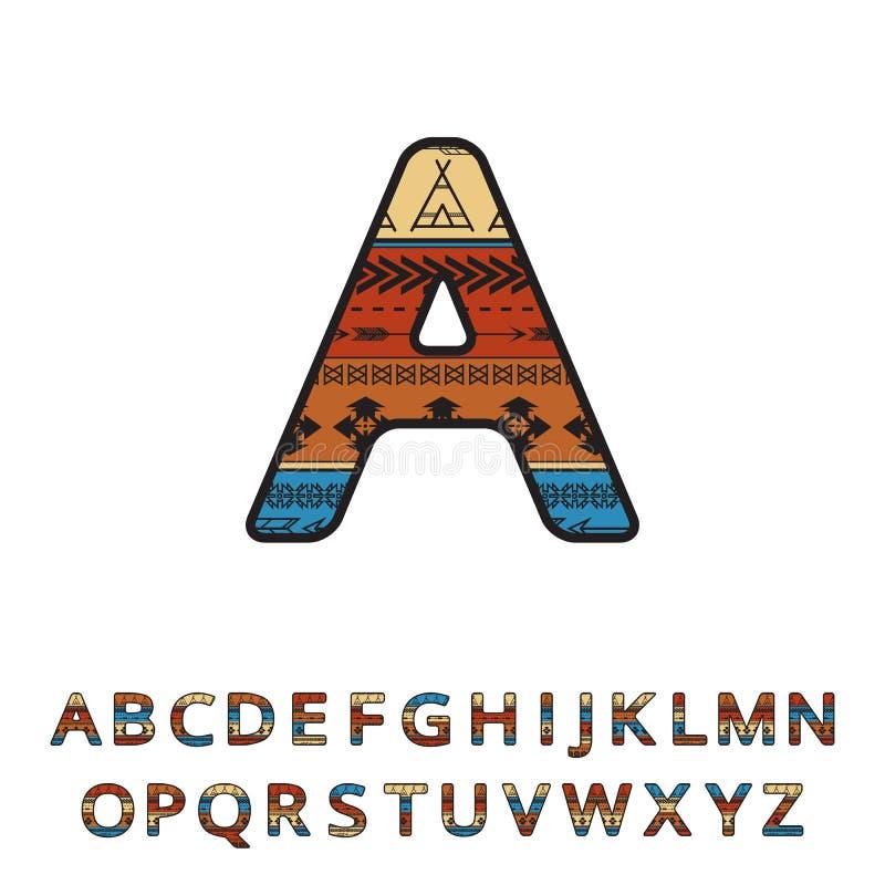 Fonte ornamentale disegnata a mano etnica azteca Alfabeto variopinto inglese di vettore illustrazione di stock